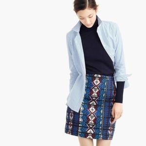 J. CREW Windowpane Jacquard Aztec Zip Mini Skirt 0